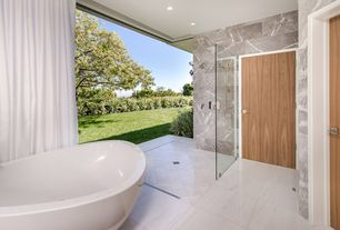 Contemporary Full Bathroom with Handheld showerhead, Freestanding, frameless showerdoor