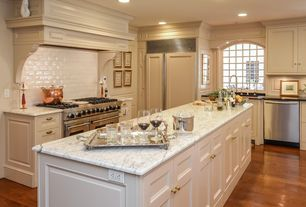 Traditional Kitchen with Flat panel cabinets, Hardwood floor, Built In Panel Ready Refrigerator, Soapstone counters, L-shaped