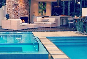 Contemporary Swimming Pool with exterior tile floors, Outdoor kitchen, Pathway, outdoor pizza oven, Pool with hot tub