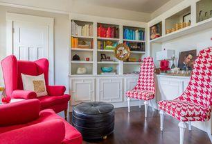 Contemporary Living Room with specialty door, Standard height, Hardwood floors, Built-in bookshelf