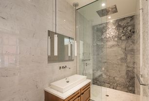 Modern 3/4 Bathroom with Simple marble counters, Pendant light, Paint 1, Standard height, Wall Tiles, can lights, Shower