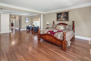 Traditional Master Bedroom with Crown molding, Hardwood floors, specialty door, Columns, Standard height