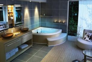 Contemporary Master Bathroom with full backsplash, slate tile floors, drop in bathtub, picture window, European Cabinets
