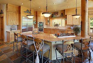 Rustic Kitchen with Casement, stone tile floors, Standard height, Built-in bookshelf, specialty door, can lights, Columns