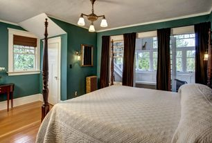 Traditional Master Bedroom with Crown molding, Hardwood floors, Chandelier, Wall sconce, double-hung window, Standard height