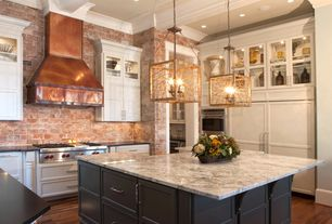 Traditional Kitchen with Pental black soapstone, Custom copper range hood, Kitchen island, Rustic Copper Range Hood-Whitney