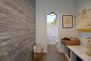 Contemporary Mud Room with interior wallpaper, Boys Will Be Boys Vol II ZB3347 Wallpaper, Built-in bookshelf, Concrete floors