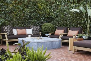 Contemporary Patio with Kingsley bate ipanema sectional chaise lounge with cushions, Fence, exterior brick floors, Fire pit
