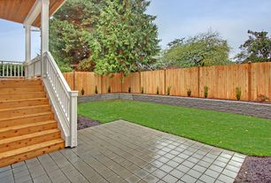 Traditional Landscape/Yard with Fence, Raised beds, Deck Railing