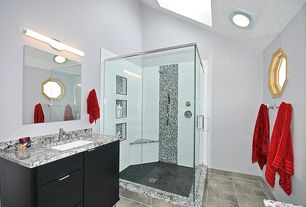 Contemporary 3/4 Bathroom with three quarter bath, European Cabinets, Skylight, Complex granite counters, can lights, Paint