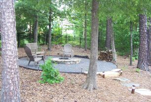 Rustic Patio with Fire pit, Adirondack chair, Pathway, Fence, Gravel path