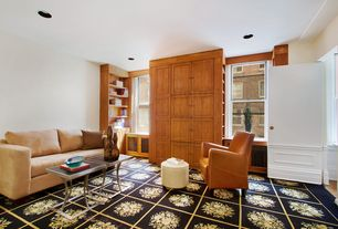 Contemporary Living Room with Carpet, Built-in bookshelf, Standard height, double-hung window, can lights