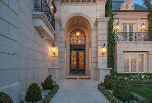 Traditional Front Door with Glass panel door, Pathway, French doors, Transom window, exterior stone floors