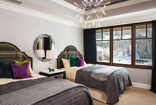 Contemporary Guest Bedroom with Abbyson Denna Round Mirror - Light Silver, Carpet, Crown molding, Chandelier