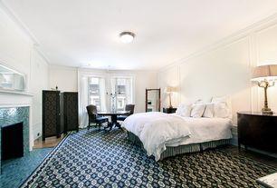Traditional Master Bathroom with Flush, Carpet, Flat panel cabinets, ceramic tile floors, flush light, Laminate floors
