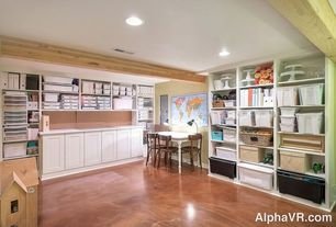 Contemporary Home Office with Built-in bookshelf, Exposed beam, Crown molding, Concrete floors