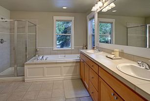 Traditional Full Bathroom with Master bathroom, Standard height, can lights, wall-mounted above mirror bathroom light, Shower