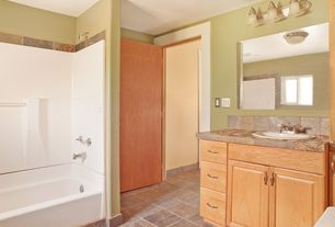 Craftsman Full Bathroom with Flush, flush light, sandstone tile counters, Stone Tile, Raised panel, Sandstone Tile