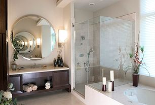 Contemporary Master Bathroom with Flush, Wall sconce, Pental - Jerusalem Grey Gold Satin Limestone Tile, slate tile floors