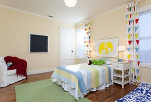 Contemporary Kids Bedroom with Crown molding, Kids bathroom, Hardwood floors, specialty door, Wood counters, Flush