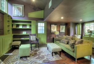 Contemporary Living Room with Built-in bookshelf, Glass panel door, can lights, picture window, Standard height