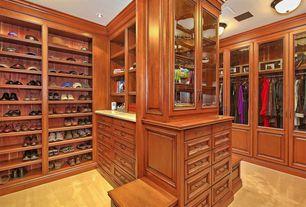 Craftsman Closet with Carpet, Built-in bookshelf, flush light
