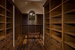 Craftsman Closet with Elmwood Reclaimed Timber Reclaimed Antique Hardwood Barn Wood Flooring, Built-in bookshelf