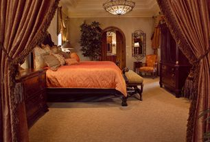 Mediterranean Master Bedroom with French doors, Crown molding, flush light, High ceiling, can lights, Carpet