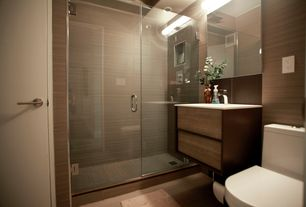 Contemporary 3/4 Bathroom with frameless showerdoor, Rain shower, Wall mounted sink, Hardwood floors