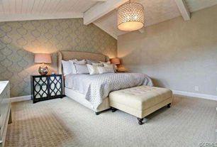 Art Deco Master Bedroom with Kenroy Tripoli 3 Light Pendant, Kirkland's Black Mirrored Cabinet, interior wallpaper, Carpet