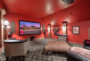 Eclectic Home Theater with Wall sconce, Carpet
