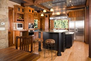 Rustic Kitchen with Breakfast nook, Undermount sink, Kitchen island, Simple Granite, Inset cabinets, flush light, L-shaped