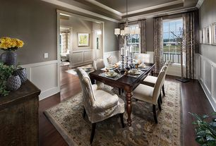 Traditional Dining Room with Pottery Barn Malika Persian-Style Rug 9'X12', High ceiling, Custom Christian Parsons Chair