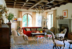 Traditional Living Room with Carpet, Arched window, Chance Sofa, Chandelier, Century Furniture Magellan Chair, Box ceiling