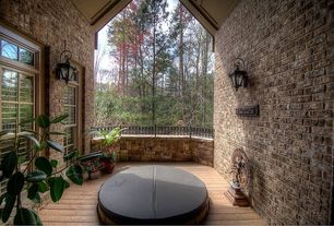 Country Hot Tub with double-hung window, Transom window, Exterior brick siding, Deck Railing