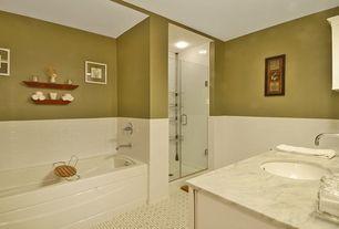 Traditional Full Bathroom with flush light, Complex marble counters, frameless showerdoor, Kohler finial pivot shower door