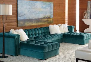 Contemporary Living Room with Horizontal wood plank wall, Shag area rug, Standard height, American leather grant sectional