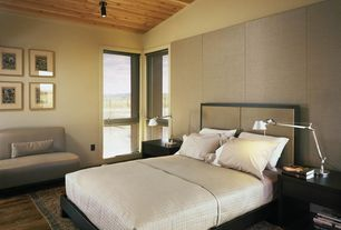 Contemporary Master Bedroom with French doors, High ceiling, can lights, Hardwood floors