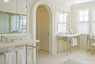 Traditional Master Bathroom with Inset tile floor medallion, Crown molding, frameless showerdoor, Cathedral ceiling, Tile rug