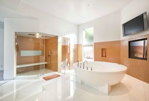 Contemporary Master Bathroom with Wall Tiles, Shower, Casement, Paint, can lights, large ceramic tile floors, Master bathroom