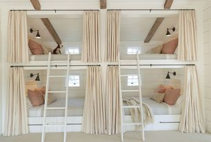 Cottage Kids Bedroom with Wall sconce, Painted wood panel ceiling, Exposed beam, Carpet, Standard height, Bunk beds, Casement