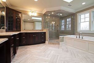 Contemporary Master Bathroom with Flush, Master bathroom, frameless showerdoor, Ceramic Tile, Travertine counters, Skylight