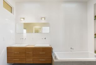 Contemporary Full Bathroom with drop-in sink, Bathtub, large ceramic tile floors, drop in bathtub, Double sink, Wood counters