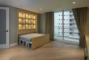 Contemporary Guest Bedroom with Hardwood floors, Murphy Wall Beds By Valet  Remote Controlled, Fabric curtain, French doors