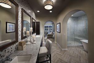 Contemporary Master Bathroom with Undermount sink, herringbone tile floors, frameless showerdoor, Paint, Mirror - wood frame