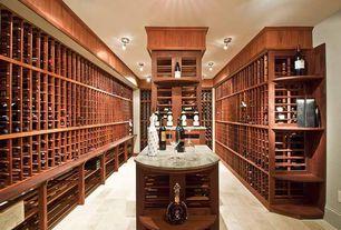 Craftsman Wine Cellar with Pendant light, Built-in bookshelf, Hardwood floors