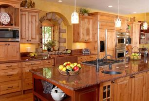 Country Kitchen with Casement, Raised panel, electric cooktop, Copper counters, Pendant light, Multiple Sinks, can lights