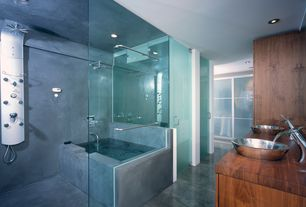 Modern Master Bathroom with Wood counters, Vessel sink, Kraus Single Hole Waterfall Faucet with Pop Up Drain, Double sink
