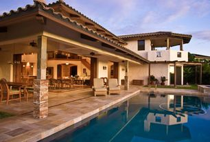 Mediterranean Swimming Pool with Pathway, picture window, Pool with hot tub, Trellis, exterior stone floors, Deck Railing