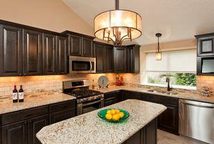 Traditional Kitchen with Kitchen island, Stainless undermount sink, Drum light, Granite countertop, Undercabinet lighting